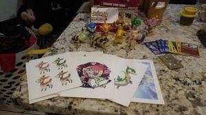 Pokemon figures , 1 gold card , 12 sm game cards , 15 big cards for Sale in Sarasota, FL