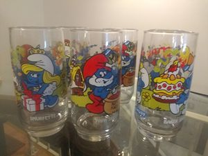 6 Collectible Smurf Glasses for Sale in St. Louis, MO
