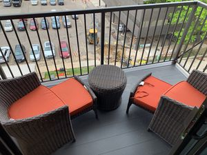 5 piece outdoor furniture set. 2 chairs with pull out leg rests plus center table for Sale in Rochester, MN