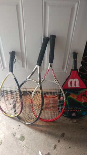2 tennis and 2 racquet ball rackets for Sale in Everett, WA
