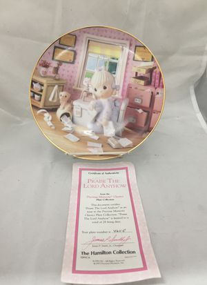 PRECIOUS MOMENTS COLLECTION 'Praise the Lord Anyhow' PLATE W/ COA for Sale in East Meadow, NY