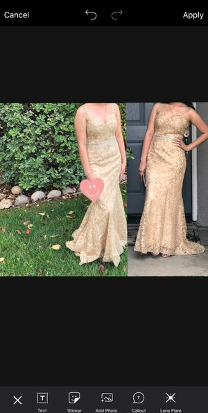 Gold/champagne prom dress fits size XS-S for Sale in Stockton, CA