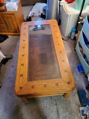 Coffee table with glass for Sale in Fullerton, CA