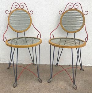 Pair BEST Vintage Metal Garden or Small Space Chairs for Sale in Huntington Beach, CA