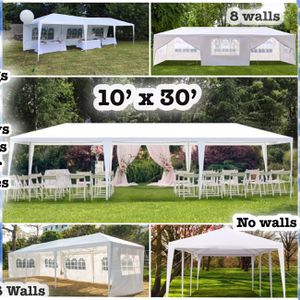 4 Total 10x30 FT 8 WALLS 2 DOORS W/ ZIPPERS GAZEBO CANOPY TENT WEDDING PARTY BBQ RESTAURANT OUTDOOR FESTIVITIES for Sale in Miami, FL