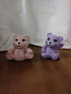 Two different poses of hand-painted lace looking bears for Sale in Kingsport, TN