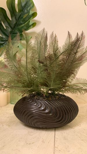 Pier 1 imports artificial fake plant indoor home garden plant decor with decorative pebbles in psychedelic ceramic pot. Fern like foliage. for Sale in Glendale, CA