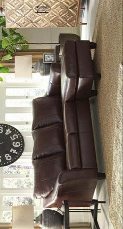 Fortney Mahogany Leather Sofa Chaise for Sale in Pflugerville,  TX