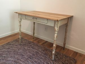 Antique / vintage distressed farm table / desk with refinished pine top for Sale in Burnsville, NC
