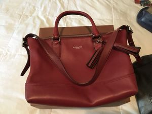 Coach purse, deep red color for Sale in Aloha, OR