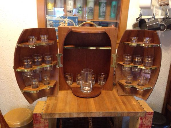 Old Wooden Barrel Wall Mounted Liquor Cabinet For Sale In
