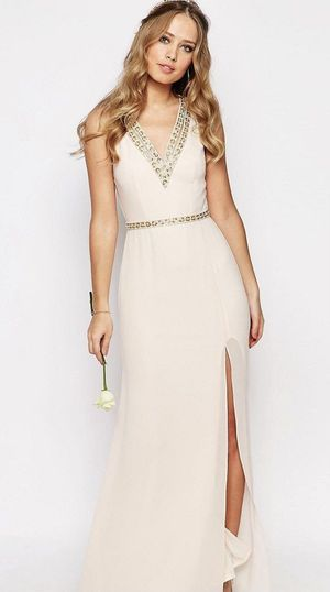 TFNC Women's Blush Maxi Dress with Embellished Neckline (Size 8) for Sale in Sterling, VA