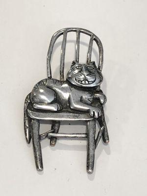 JJ Jonetta pewter silver tone cat pin for Sale in Moon Township, PA