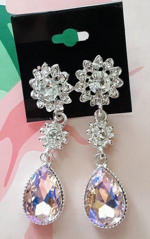 New silvertone faux diamond & pink iridescent acrylic dangle post earrings for Sale in Fullerton, CA