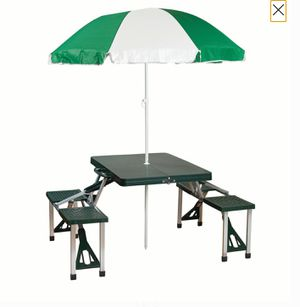 Folding Patio Furniture Set Camp Picnic Table Umbrella Combo Pack Camping Fishing Tailgating Outdoor Barbecue Bbq Grill Cooking Eatery Shade for Sale in Henderson, NV
