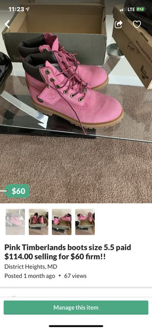 Pink Tim's size 7 big kids $60.. (Lil kids size 10 pink and green $45 each (both for $80 for Sale in District Heights, MD