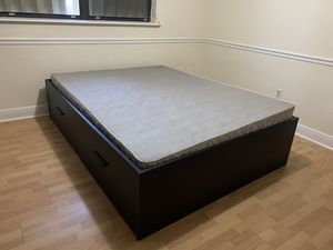 BRIMNES bed frame with storage (includes box spring) for Sale in Miami, FL