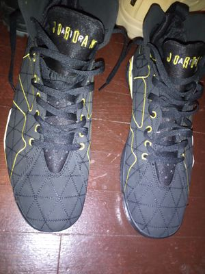 Men's new Jordans BLK and yellow size 13 true flight new 100 for Sale in Royal Oak, MI
