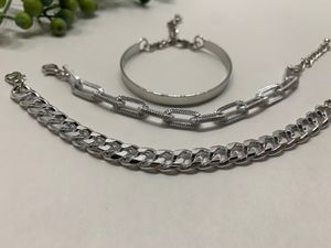 Punk Style 3pcs/Set Curb Cuban Multilayer Link chain bracelet, Silver Color for Sale in Tustin, CA