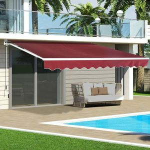 New in box Manual Patio 10 feet wide × 8' Retractable Sunshade Awning deck cover sun block canopy shade burgundy red for Sale in Pico Rivera, CA