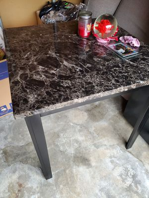 Granite dining room set with 4 matching leather chairs for Sale in Barstow, CA
