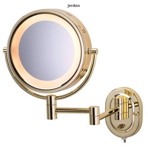 Jerdon 15 in. L x10 in. Lighted Wall Makeup Mirror in Bright Brass for Sale in Dallas, TX