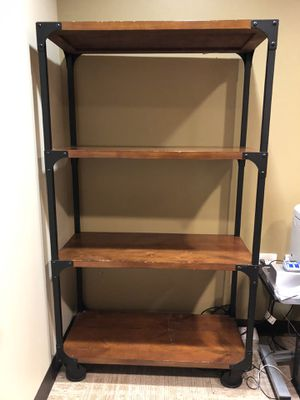 Wood & Metal bookcase, storage shelves for Sale in Duvall, WA
