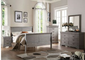 Antique grey bedroom set queen for Sale in Tampa, FL