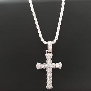 925 sterling Silver/ plata Icedout Cross Pendant with Rope chain for Sale in Los Angeles, CA