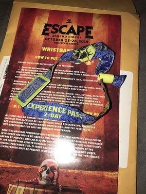 2-Day GA Escape Wristband for Sale in Covina, CA