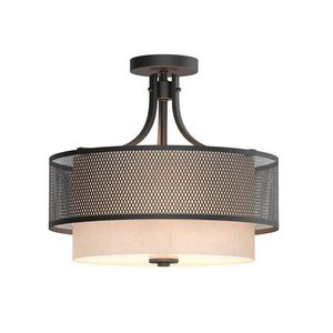 H.D.C. 16 in. 3-Light Bronze Mesh Semi-Flush Mount with Fabric Shade for Sale in Dallas, TX
