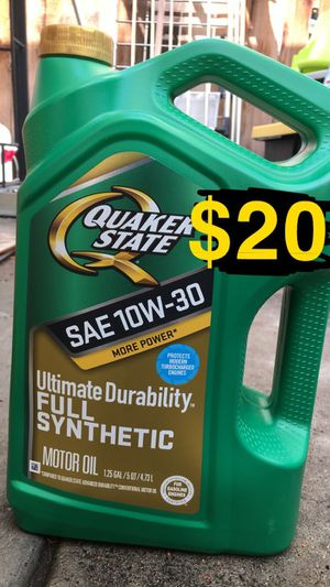 Quaker state 10-30, 5-30, 5-20 and 0-20 full synthetic motor oil for Sale in Riverside, CA