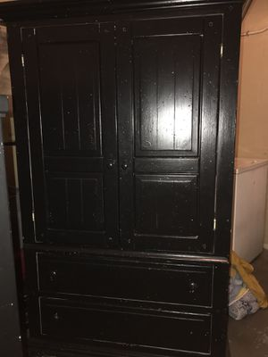 Black armoire with twin head and footboard with rails for Sale in Lake Wales, FL
