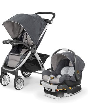 Chicco Bravo Trio Travel System with Full Size Stroller, convertible frame, one hand compact fold, extended canopy&key fit 30 car seat, Nottingham for Sale in Las Vegas, NV