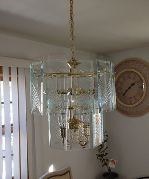 10 Light Glass Rod Swizzle Stick & Panel Hanging Ceiling Chandelier for Sale in Lowell, MA