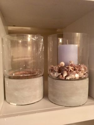 Threshold by Target Candle Holders. Cement base & glass hurricane cover. for Sale in Riverside, CA