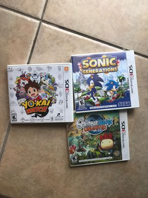 Three Nintendo 3DS games yokai watch scribble nauts and sonic generations for Sale in Clermont, FL