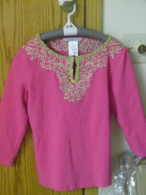 Sharon Young Hot Pink green beaded keyhole 3/4 sleeved Extra Small tunic for Sale in El Paso, TX
