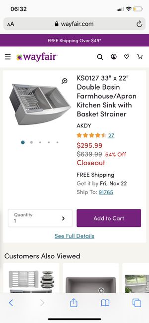 "KS0127 33"" x 22"" Double Basin Farmhouse/Apron Kitchen Sink with Basket Strainer for Sale in Diamond Bar, CA"