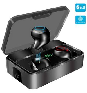 True Wireless Earbuds, KUNGIX Bluetooth 5.0 Headphones, 3000mAh Sweatproof 90H Playtime Noise Cancelling Mini Earbuds, Deep Bass 3D Stereo Sound Earp for Sale in Vernon Hills, IL