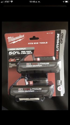 Milwaukee M18 Redlithium High Output Battery - 2 Pieces for Sale in San Jose, CA