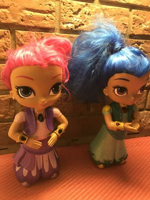 2 shimmer & shine dolls! Batteries included! for Sale in Savannah, GA