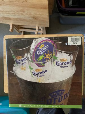 Corona Extra Gift Pack 4 Pint Glasses, Bucket & Coasters for Sale in Athens, PA