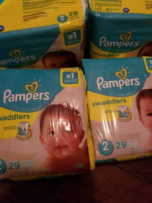 DIAPERS PAMPERS SWADDLERS SIZE 2 4 FOR $24 for Sale in Seagoville, TX