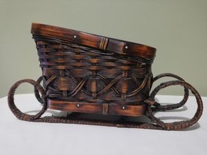 Christmas Sleigh Wicker Basket Table Top Decoration Holiday for Sale in Lorton, VA