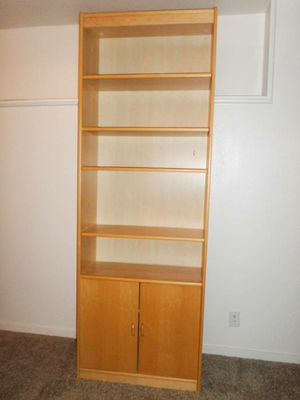 7ft. Tall Sturdy Wood Bookcase. Delivered. for Sale in Tacoma, WA