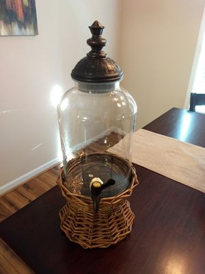 Glass drink dispenser with wicker base for Sale in Lynchburg, VA