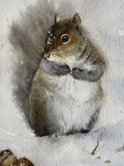 """Original watercolor painting Squirrel 5x7"""" Art With 8x10"""" Mat for Sale in Los Angeles,  CA"""