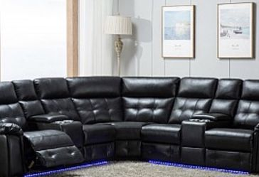 Black Leather Sectional Sofa With Recliners!! Brand New for Sale in Chicago,  IL