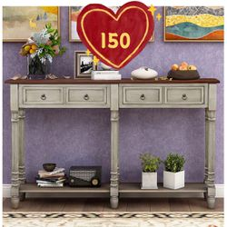 Brand new! Console Tables for Entryway, Console Sofa Table with Two Storage Drawers and Bottom Shelf for Living Room (Antique Gray) for Sale in Hacienda Heights,  CA